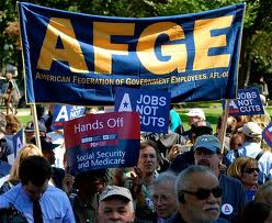 AFGE members at a demonstration or march